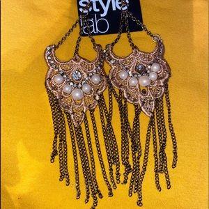 Tan Pearl Diamond Accent Dangle Earrings